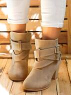 Suede Stitch Detail Buckle Decor Chunky Booties