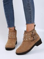 Studded & Buckle Decor Block Heeled Boots