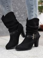 Buckle Detail Chunky Heeled Slouchy Boots
