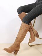 Minimalist Side Zipper Chunky Heeled Boots