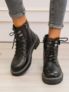 Lace Up Front Side Zip Combat Boots