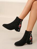 Flower Embroidery Chunky Heeled Boots