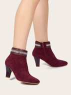 Braided Detail Side Zipper Chunky Heeled Boots