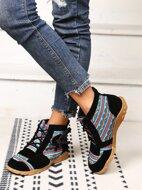 Geometric Pattern Bow Decor Boots