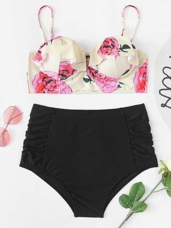 Plus Flower Print Ruffle Top With High Waist Bikini Set
