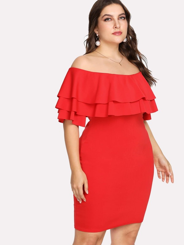 Plus Off Shoulder Tiered Ruffle Trim Dress, Franziska