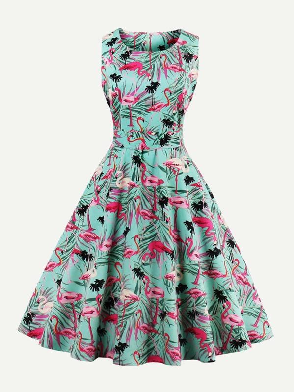 Random Flamingos Bow Tie Back Circle Dress, null