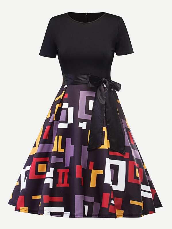 Geo Print Knot Waist Zip Up Back Dress, null