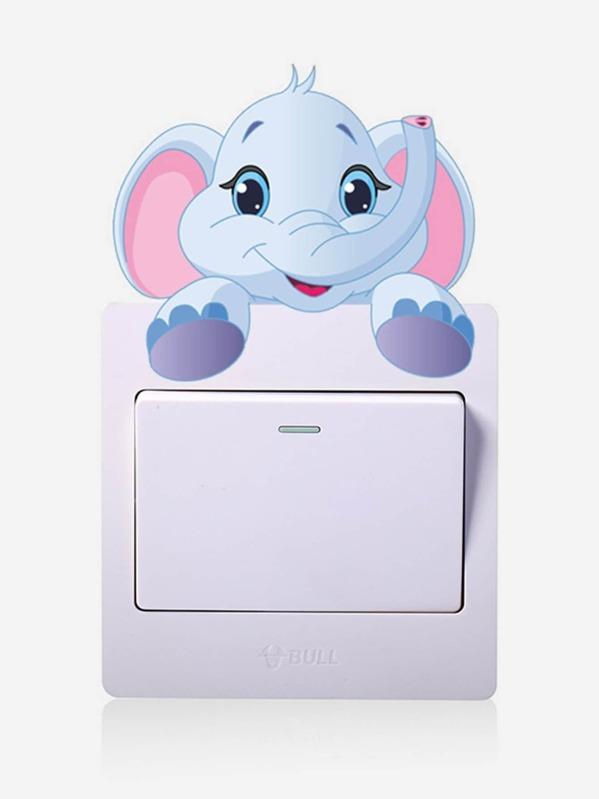 Cartoon Elephant Plug & Switch Button Sticker