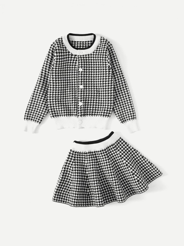 Girls Contrast Trim Houndstooth Jacket With Skirt