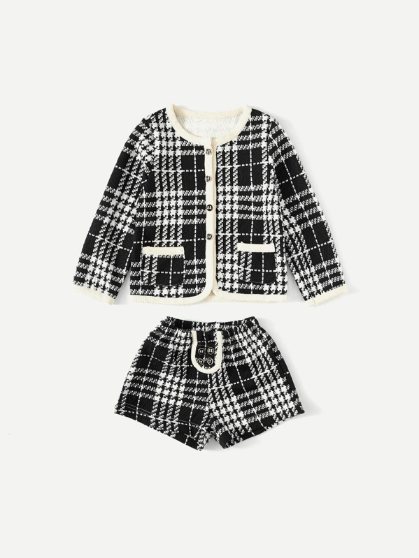 Girls Contrast Trim Wales Check Coat With Shorts