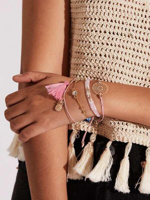 Tassel & Pineapple Design Bracelet Set 4pcs