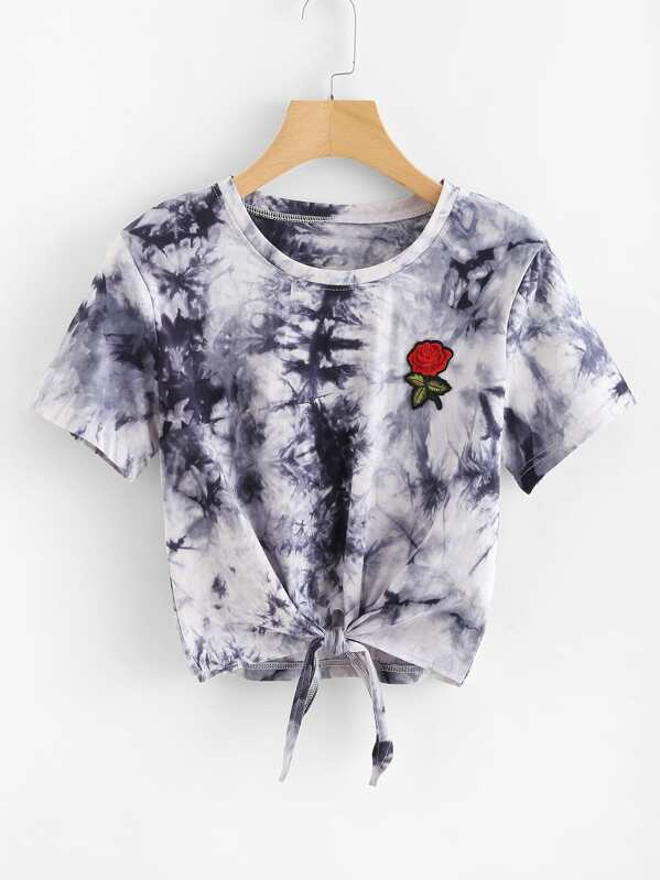 Embroidered Applique Knot Front Tie Dye Tee, null