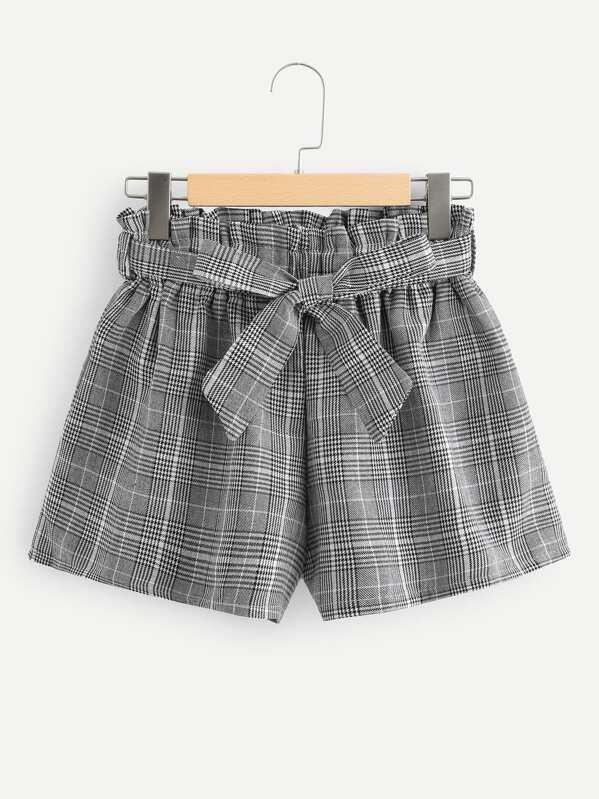 Frill Trim Self Tie Waist Checked Shorts