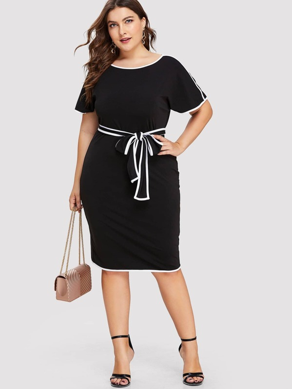 Plus Split Back Hem Knot Detail Dress, Franziska