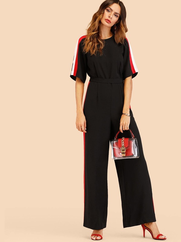 Striped Tape Side Tie Back Jumpsuit, Andy