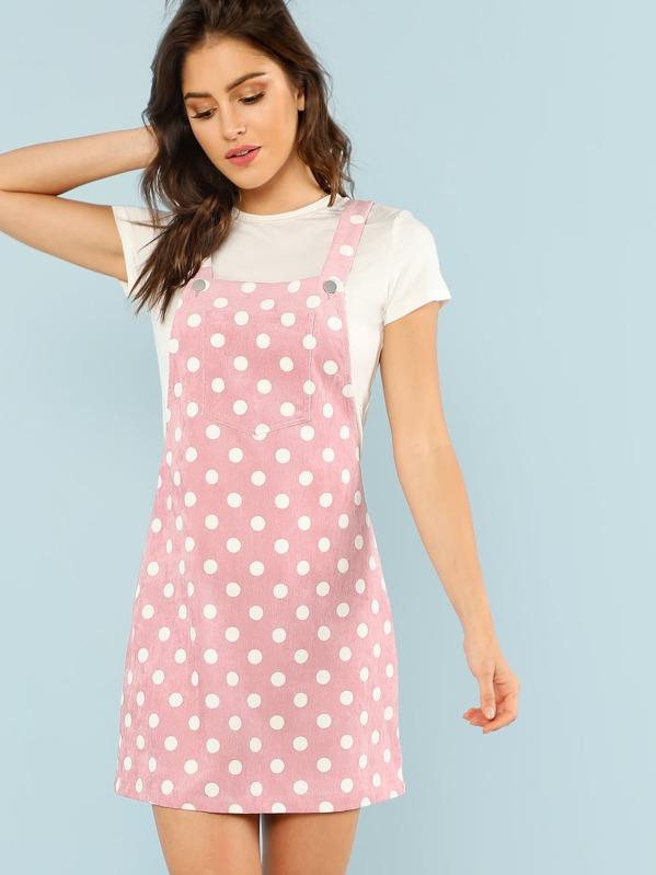 Polka Dot Print Overall Dress, Gigi Paris