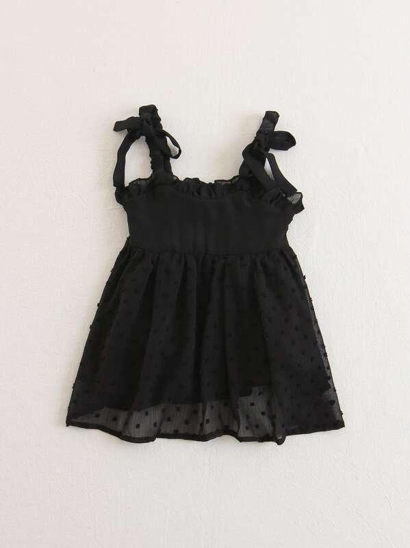Платье с прозрачным вставками и оборками для детей, null