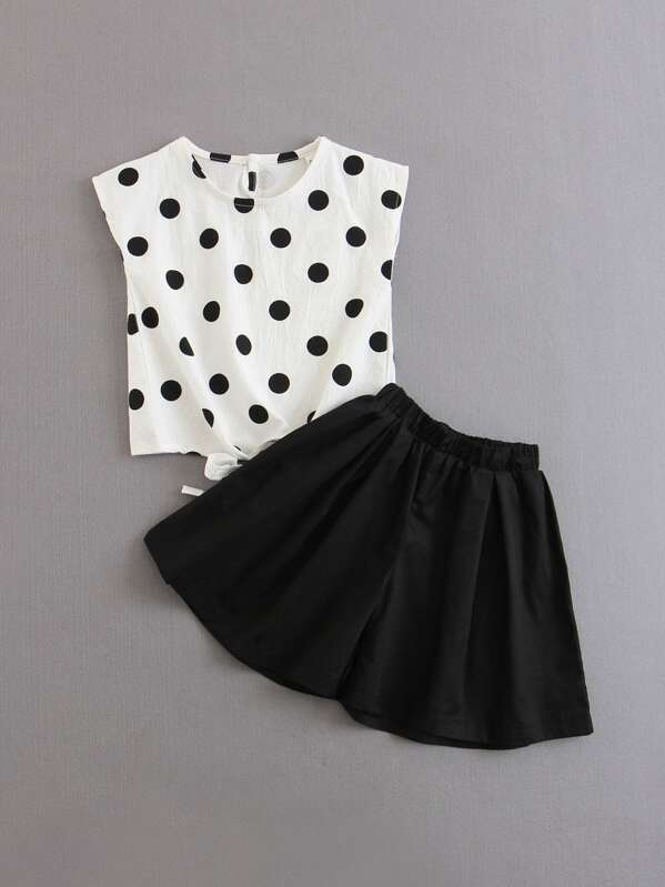 Girls Polka Dot Knotted Blouse With Shorts