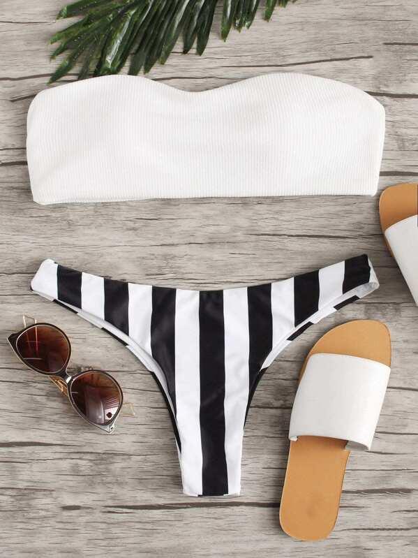 Bandeau Top With Striped Cheeky Bikini Set