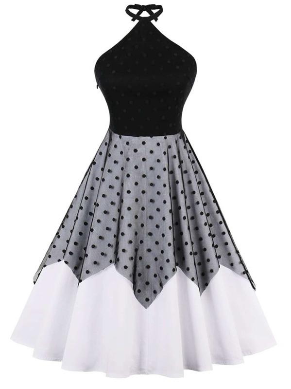 Lace Panel Polka Dot Halter Dress, null
