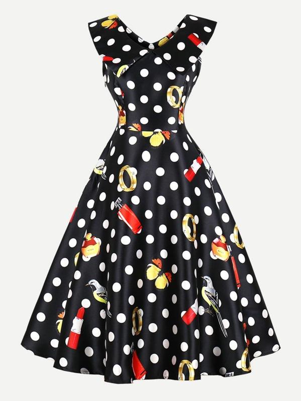 Polka Dot Zip Up Side Dress, null