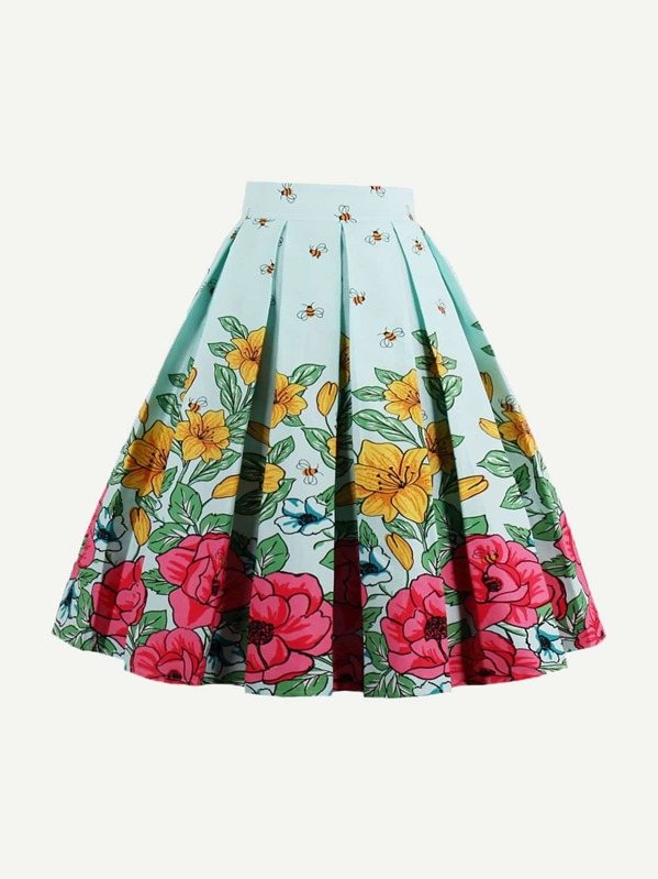 Floral Print Box Pleated Skirt, null