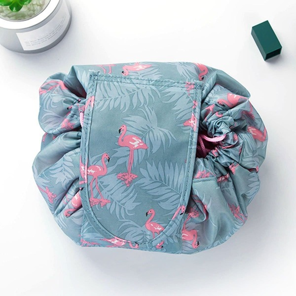 Flamingo Drawstring Wrap Around Makeup Storage Bag