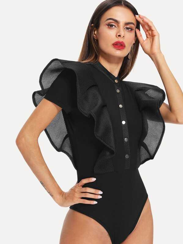Button Up Mesh Ruffle Trim Fitted Bodysuit, Andy