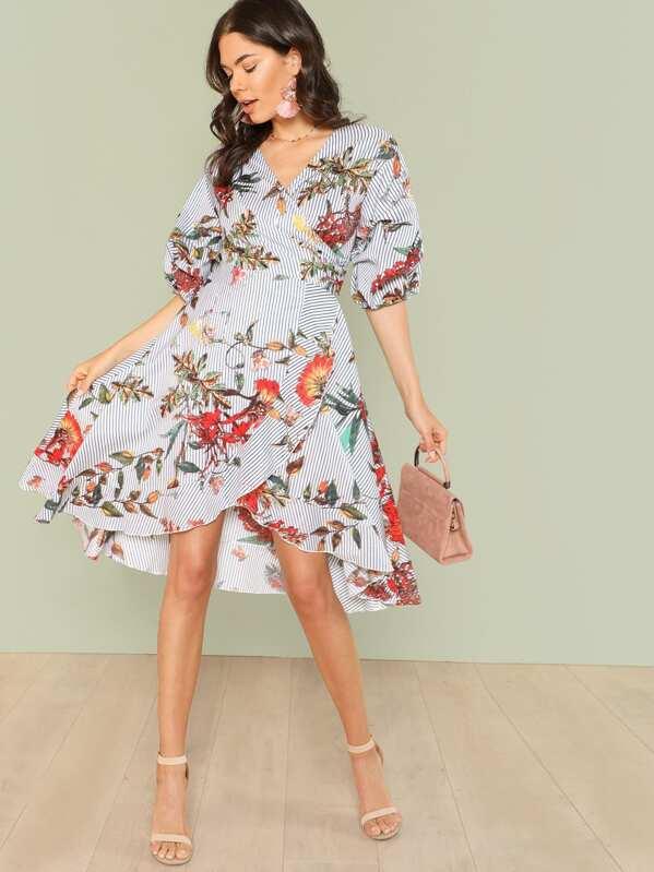 Mixed Print Asymmetrical Ruffle Hem Surplice Wrap Dress, Aarika Wolf