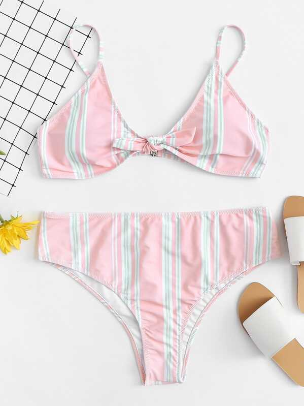 Plus Knot Front Top With Striped Bikini Set, null