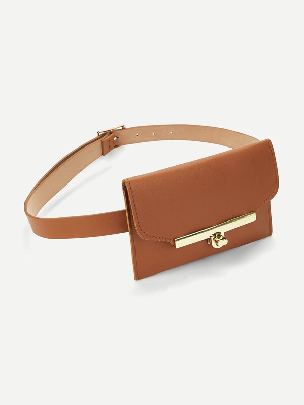 Metal Buckle Belt With Detachable Bag, null