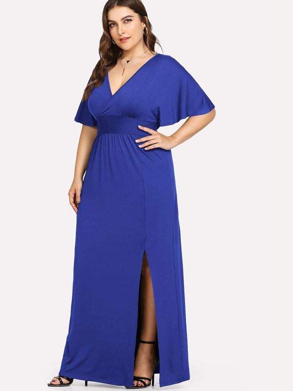 Plus Deep V Neck Split Hem Dress, Franziska