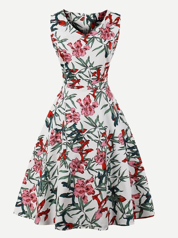 Floral Print V Neckline Dress, null