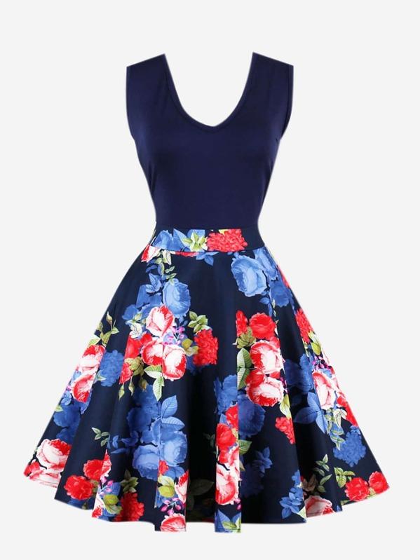 V Neckline Floral Print Zip Up Side Dress, null