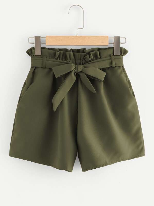 Self Tie Waist Frill Trim Shorts