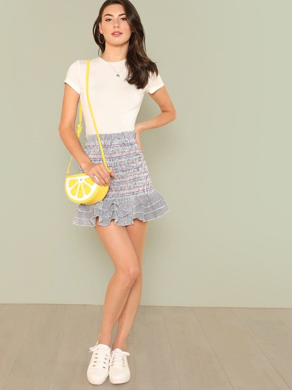 Floral And Stripe Print Frill Trim Shirred Skirt, Zandria Theis