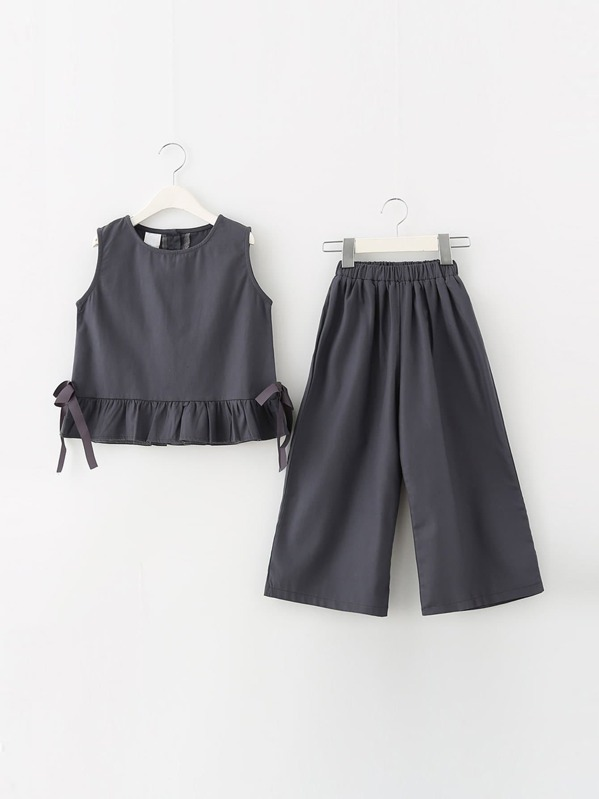 Girls Tie Detail Ruffle Hem Vest With Wide Leg Pants