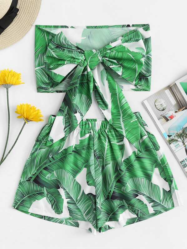 Tie Front Tropical Print Bandeau Top With Shorts, null