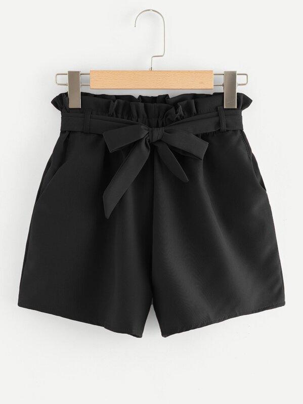 Self Tie Waist Frill Trim Shorts, null