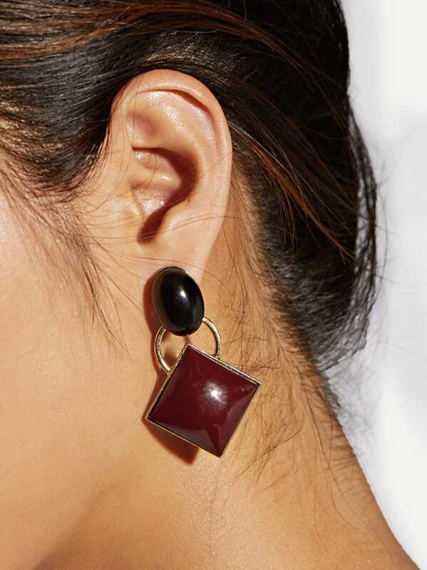 Two Tone Geometric Drop Earrings 1pair