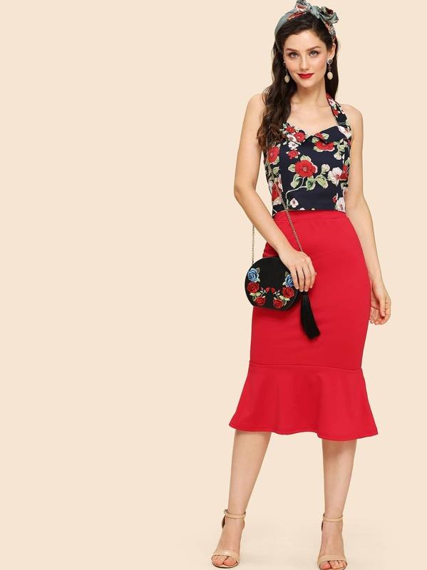 Floral Print Halter Top With Ruffle Hem Skirt, Julie H.