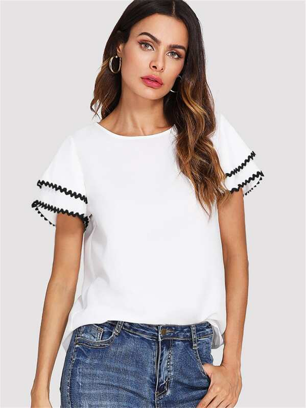 Contrast Wave Lace Trim Layered Ruffle Sleeve Top, White, Andy