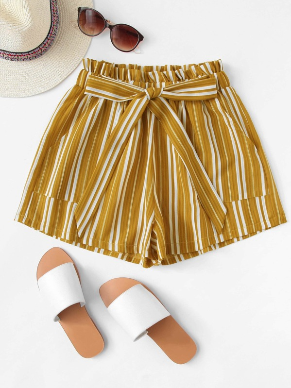 Frill Trim Tie Waist Striped Shorts, null