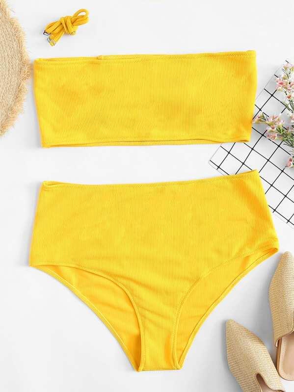 Plus Rib Knit Bandeau With High Waist Bikini Set, null