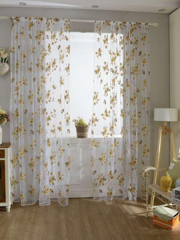 Flower Print Rod Pocket Sheer Curtain 1pc