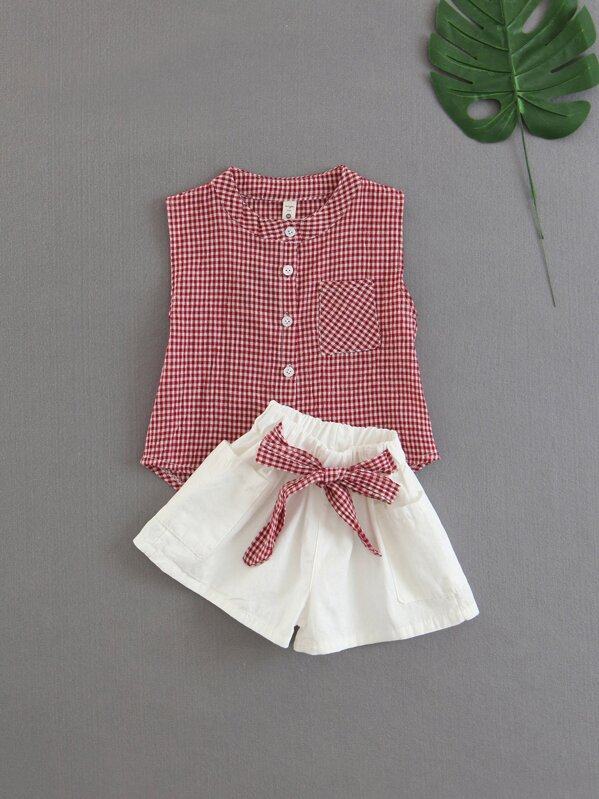 Girls Gingham Blouse With Knotted Shorts