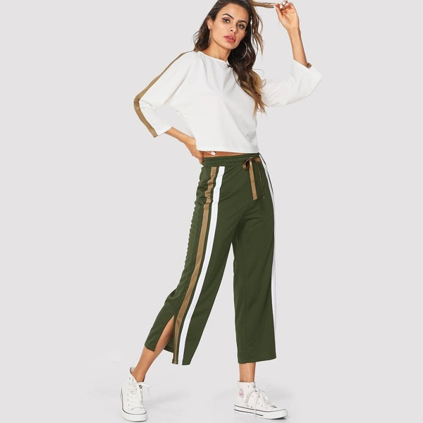 Stripe Contrast Top & Drawstring Waist Pants, Multicolor