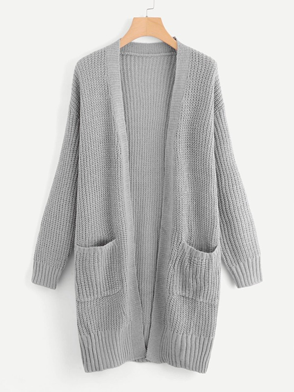 Patch Pocket Open Front Sweater Coat