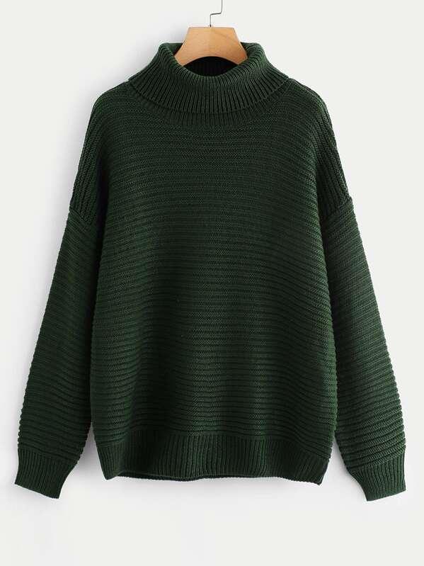 Turtleneck Drop Shoulder Rib Knit Sweater